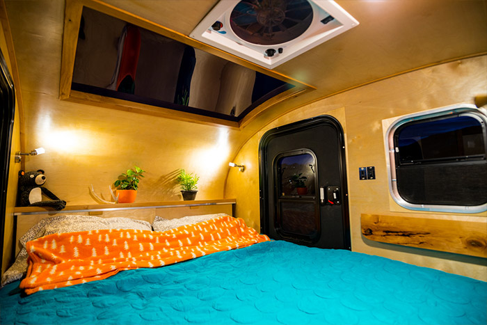 Teardrop trailer interior cabin